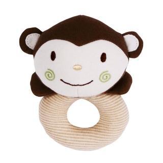 【Oragnic】有機棉猴子手搖鈴-環型(米/藍)