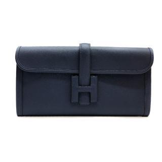 【Hermes 愛馬仕】JIGE ELAN 29 牛皮手拿包晚宴包(深藍)