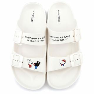 【童鞋城堡】簡約質感輕量拖鞋 麗莎與卡斯柏 x Kitty(GK1323-白)