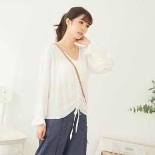 【*KatieQ 慢。生活】抽繩造型薄款長袖上衣-F(白)