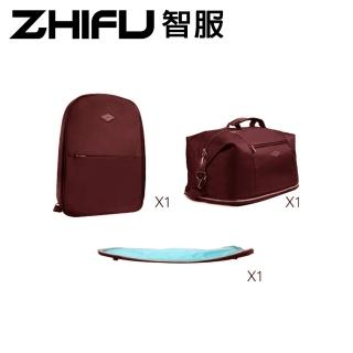 【ZHIFU 智服】筆電後背包+拼接旅行包三件組-咖啡色(後背包 旅行包 拼接包)