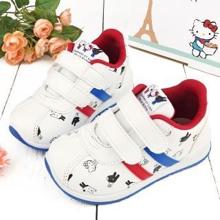 【童鞋城堡】皮面質感運動鞋 麗莎與卡斯柏xKitty(GK7955-白)