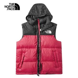 【The North Face】經典ICON.北面1996Nuptse紅色羽絨背心|496T682