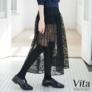 【mysheros 蜜雪兒】VITA 透膚蕾絲刺繡花造型長裙(黑)