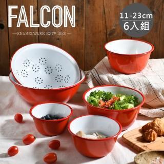 【英國 Falcon】獵鷹琺瑯 餐碗調理盆六入組(三色可選)