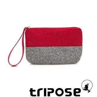 【tripose】漫遊系列岩紋x微皺尼龍多功能手拎袋-大(紅)