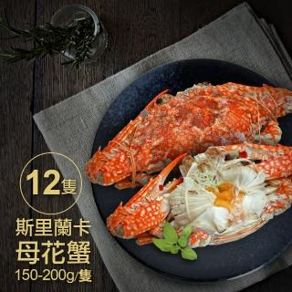 【優鮮配】斯里蘭卡生凍母花蟹12隻(150-200g/隻)