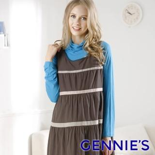 【Gennies 奇妮】高領反摺素色棉T上衣(綠/青藍/深藍G3752)