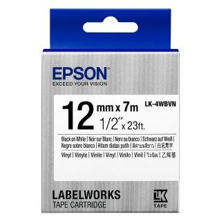 【EPSON】標籤帶 產業用耐久型 白底黑字/12mm(LK-4WBVN)