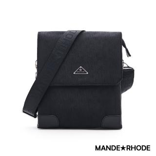 【MANDE RHODE 曼德羅德】普徠德-美系潮男風格輕體隨身側背包-格紋黑(P2020-A)