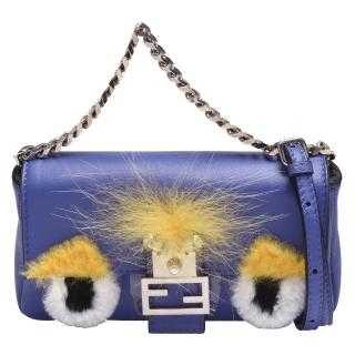 【FENDI 芬迪】經典絨毛怪獸造型小牛皮磁釦手提/斜背包(迷你-藍紫色8M03543ZQ)