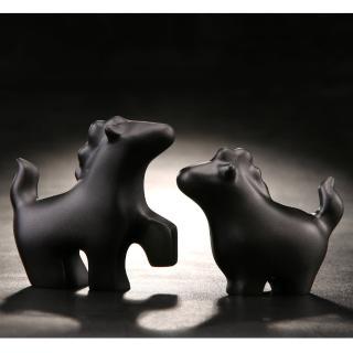 【Gallery Chuan 筌美術】華麗遊行_黑石雕(動物 馬 送禮 限量)