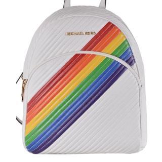 【Michael Kors】白色X彩虹RAINBOW皮革拉鍊式大款後背包