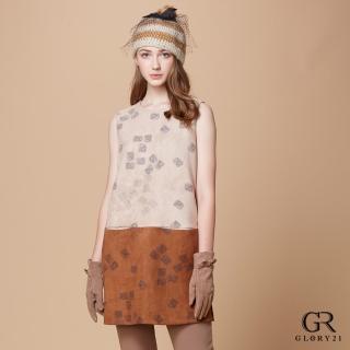 【GLORY21】雙色麂皮背心洋裝(卡其色)
