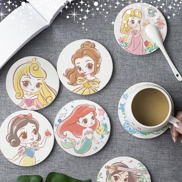 【收納王妃】迪士尼童話公主風珪藻土杯墊(2入一組)/