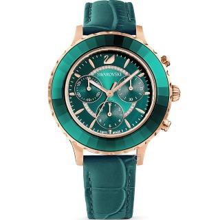 【SWAROVSKI 施華洛世奇】Octea Lux Chrono手錶(5452498 綠)