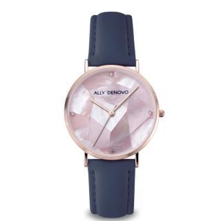 【ALLY DENOVO】Gaia pear菱形琉璃粉紫色真皮錶(AF5003.9)