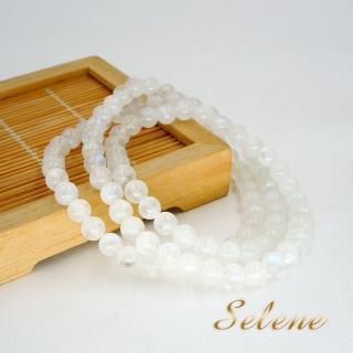 【Selene】潔白清透月光石三圈手鍊(5-6mm帶藍光)