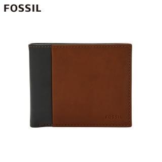 【FOSSIL】Ward 真皮帶翻轉證件格RFID皮夾 男-黑色x咖啡色 ML4165001