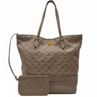 【Louis Vuitton 路易威登】M93238 Monogram Empreinte牛皮轉釦肩背購物包(咖啡色-限量款)