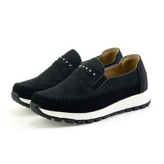【OLLIE】正韓製/版型偏小。刷色皮革增高5CM鉚釘一字造型寬帶便士樂福吸震休閒鞋(72-700共2色/現貨)