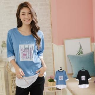 【衣心衣意】時尚亮片圖印拼接層次長版上衣(藍色-黑色A2034)