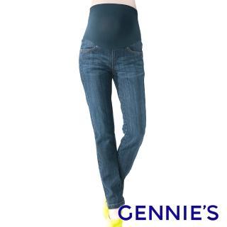 【Gennies 奇妮】個性風薄款一體成型牛仔長褲(藍G4V37)