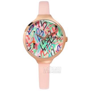 【rumba time】Orchard Love 紐約品牌 礦石強化玻璃 真皮手錶 彩色x玫瑰金框x粉 32mm(RU27884)