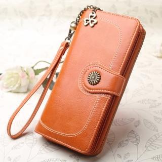 【L.Elegant】韓版時尚銅花長夾拉鏈零錢包B630(女式長夾)