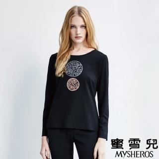 【mysheros 蜜雪兒】雙色圓形拼鑽玫瑰上衣(黑)
