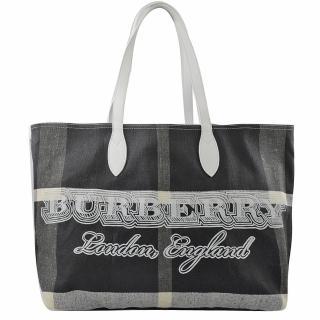【BURBERRY 巴寶莉】格紋棉麻皮飾邊肩背大購物包(黑白)