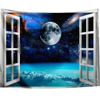 【半島良品】贈星星燈-窗景星空/北歐掛布掛毯(掛毯 掛畫 沙灘巾 牆面布 背景布 沙發巾 ins 裝飾掛布掛毯)