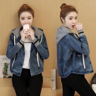 【Alishia】韓版棉連帽單寧牛仔短版夾克外套 S-2XL(現+預  藍色)