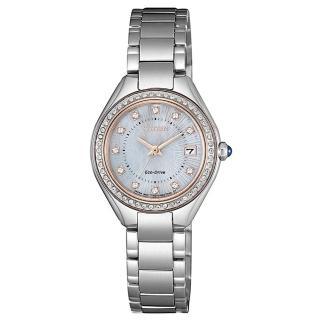 【CITIZEN 星辰】LADYS施華洛世奇61顆鑽石光動能時尚腕錶26mm(EW2556-83Y)