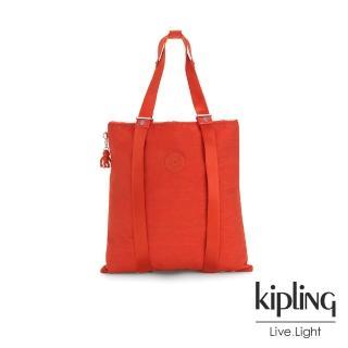 【KIPLING】復古趣味紅色大容量手提帆布包-LOVILIA