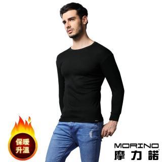【MORINO】發熱長袖圓領衫/長袖T恤(黑色)