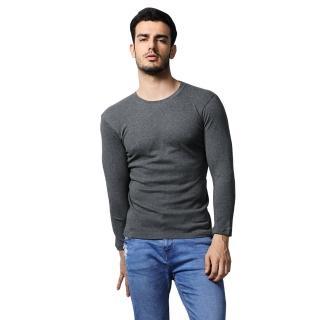 【MORINO】長袖棉毛彩色圓領衫/長袖T恤(深灰)