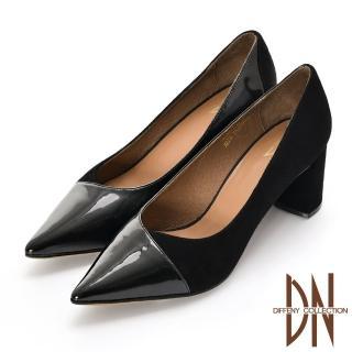 【DN】跟鞋_都會真皮交叉漆皮尖頭方跟鞋(黑)