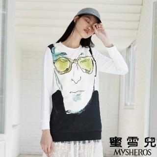 【mysheros 蜜雪兒】VITA 水彩人臉造型長袖上衣(白)