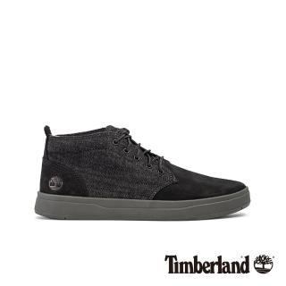 【Timberland】男款黑色磨砂革拼接休閒鞋(A1Z3K231)