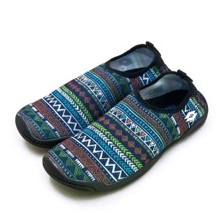 【LOTTO】女 多用途戶外休閒運動溯溪機能水鞋 AQUWEAR系列(圖騰藍 0976 附收納袋)
