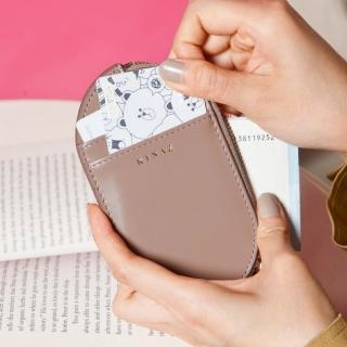 【KINAZ】真皮橢圓卡片萬用零錢包-奇幻可可棕-小物魔法系列