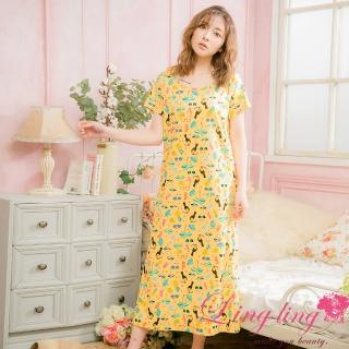 【lingling】PA4084全尺碼-長版熱帶雨林滿版棉質短袖連身裙睡衣(活力黃)