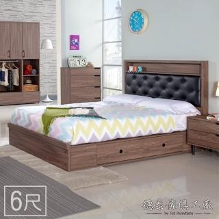 【德泰傢俱】CANDA胡桃木6尺雙人加大床 A011-K03