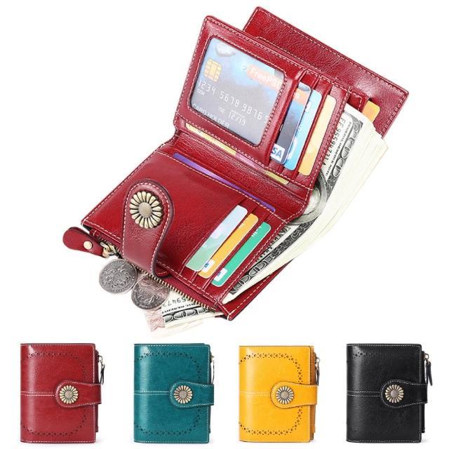【玩皮工坊】真皮復古牛皮15卡位女士皮夾皮包錢包短夾女夾LH652(4色可選)/