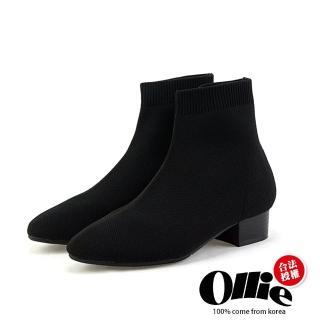【OLLIE】韓國空運/版型偏小。質感針織羅紋襪口尖頭粗跟中跟踝靴(72-711/現貨)
