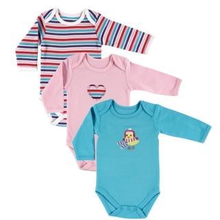 【Luvable Friends】嬰幼兒100%純棉長袖包屁衣3件組_黃色小雞(LF55025)