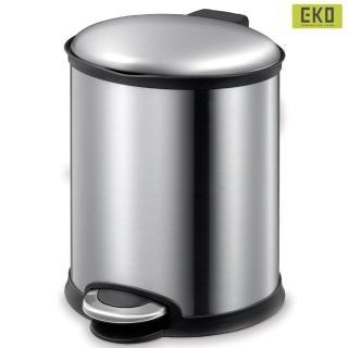 【EKO】愛麗靜音緩降垃圾桶6L-砂鋼色(緩降 踏式 垃圾桶)
