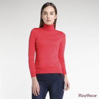 【KeyWear 奇威名品】羊毛100%經典素面高領長袖針織上衣(共6色)