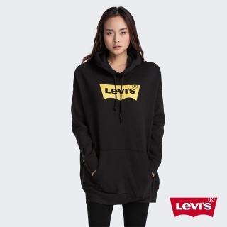 【LEVIS】女款 口袋帽T / 中長版 / 經典Logo / 內刷毛